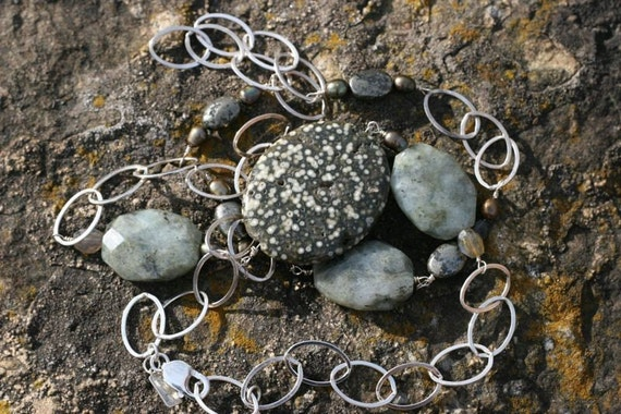 One of a Kind, 38 inch Long, Large Gray Speckle Ocean Jasper, Labradorite, Pyrite, Bronze Pearls, w/ Large, Sterling Oval Links