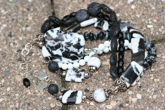 OOAK, Black and White Cluster Necklace in Zebra Jasper, Black Onyx, Lava Rock, Snowflake Obsidian, Mother of Pearl, Howlite and Sterling