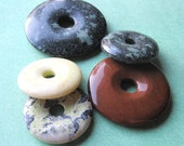 Five. Mostly LARGE. Multicolored. Gemstones. Donuts.. (4064-donuts-12) Jewelry Supplies by GemsBeadsEtc on Etsy