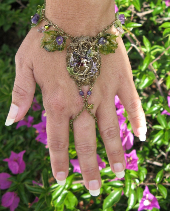 FAERIE GARDEN - hand painted signed Handflower charm bracelet with amethyst jewellery for faeries OOAK