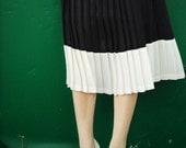 Vintage 1970's/80's Dramatic Black & White Pleated Dress