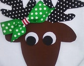 SALE--- DIY Christmas Reindeer -- Female -- Fabric No Sew Iron On Applique