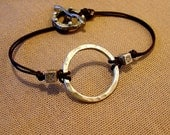 Circle of Life- fine silver and leather bracelet
