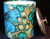 Retro Vintage 70's Ice Bucket, Turquoise, Green, Black and Gold Floral, Insulated, Barwear