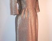 Vintage 60's Cocktail Dress, Wiggle Dress, Mad Men Era, Taupe, Bronze, Gold Metallic, Women's Small to Medium