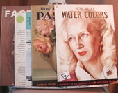 SALE...Vintage Art Instruction Books, WALTER FOSTER, Set of Four, Watercolor Painting, How to Draw With Pastels, and How to Do Watercolors