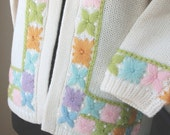 LAST CHaNCE SALE...Vintage 60's Embroidered Cardigan Sweater, DEADSTOCK, Cream, Lavender, Pink, Aqua, Green, Orange, Small