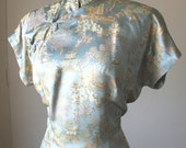 Vintage 60's Cheongsam Dress, Pale Blue Silk Satin Brocade, Asian Suzy Wong Dress, Wiggle Dress, Women's Medium to Large
