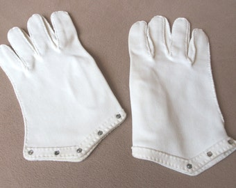 GLOVE SALE...Vintage 50's Gloves, White with Rhinestones, Short, Wrist Length, Mad Men Style, by Lily Dache'