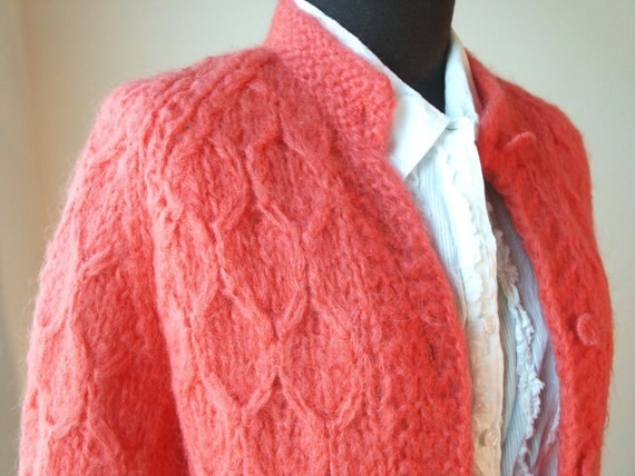 50's Mohair Sweater, Vivid Coral or Salmon Color, Hand Knit in Italy, Women's Small or Medium