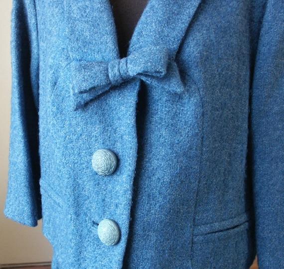 Vintage 60's Suit, Tweed, MadMen Era Jacket and Skirt, Teal Blue,  Medium to Large