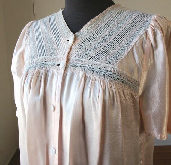 Vintage 40's Pajama Top, Pink Silk Satin with Lace, Babydoll, WW2 Era, Small to Medium