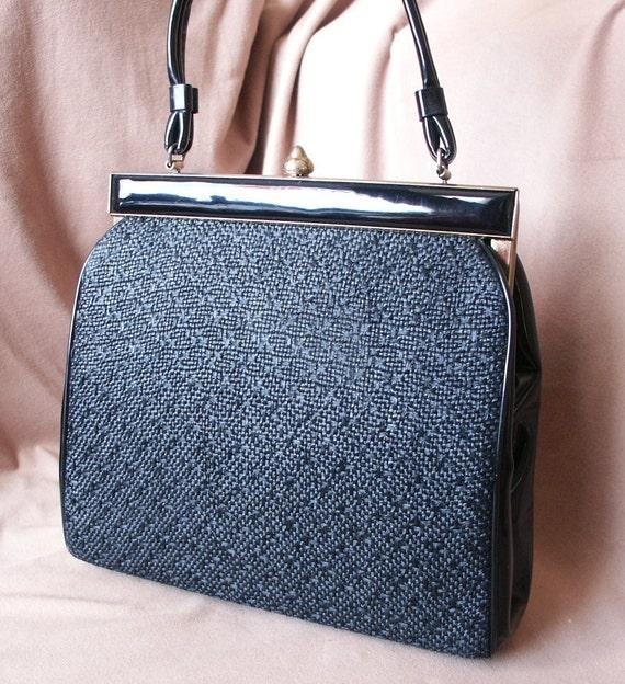 Black 60's Handbag, Raffia and Patent , Top Handle, Mad Men or Rockabilly Style, Large