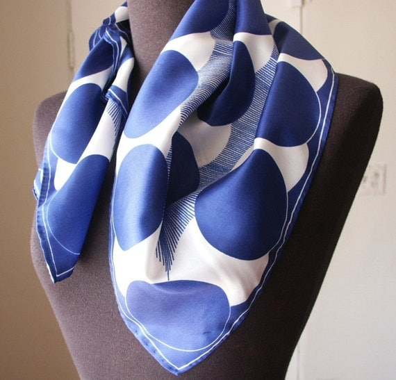 Vintage 70's Scarf, Blue and White Polka Dots by VERA