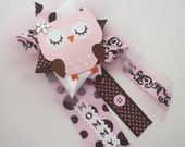 Girl Owl Baby Shower Corsage in Pink and Brown - Ready To Ship