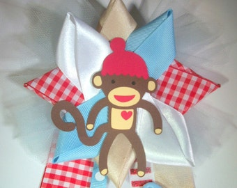 sock monkey Baby Shower Corsage -  Ready To Ship