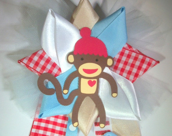 sock monkey baby shower corsage ready to ship