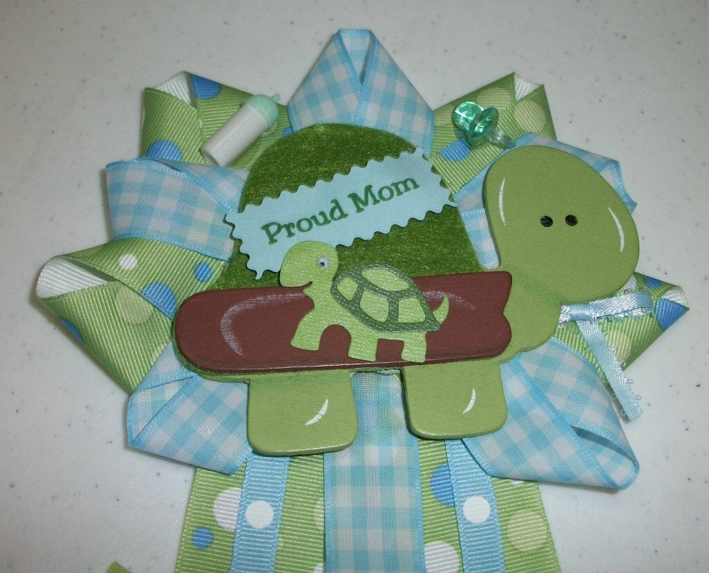 turtle baby shower corsage in blue and green for by crazycraftfrog