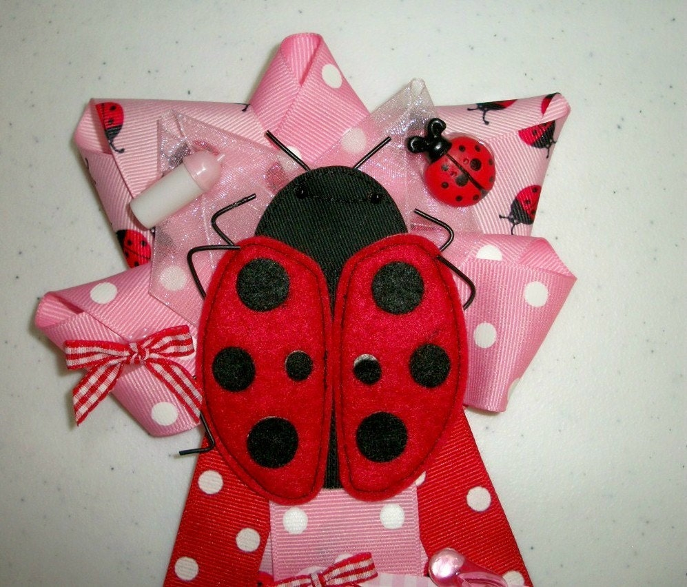 ladybug it 39 s a girl baby shower corsage for mommy favors