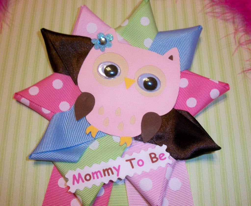 owl baby shower corsage girl owl theme baby pink