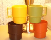 Vintage Tupperware Mugs UNUSED Harvest Colors Stackable