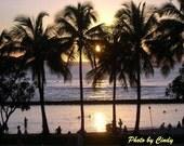 Tropical Sunset on Waikiki Beach - Photograh