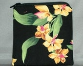 Coin Purse - Small Padded Zippered Pouch - Mini Wallet - EXOTIC ORCHIDS