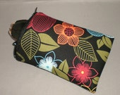 Eyeglass Sunglasses Case - Zipper Top - Cell Phone, Camera, iPod Bag - Padded Zipper Pouch - Bold Retro Sunflowers - Tropical Floral