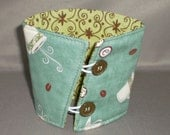 Coffee Cozy - Coffee Cuff - Coffee Cup Sleeve - Reuseable - Eco Friendly - Teal - Coffee Beans