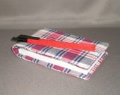 Notepad Holder with Pen - Journal - Diary - Red White and Blue Plaid