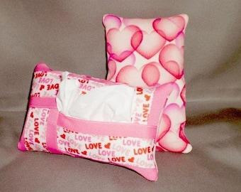 Kleenex  Purse Travel Size Tissue Pack Cover Cozy Holder - PINK HEARTS LOVE - Valentine