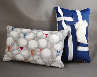 Kleenex Purse Size Tissue Pack Cozy Case Cover Holder - GOLF BALLS - Blue and White