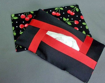 Kleenex Tissue Case Cover Cozy Holder - Full Size Refillable - For Auto, Desk, Locker, Purse, Travel, Home Decor - Cherries - Red and Black