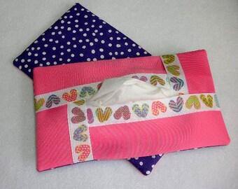 Full Size Kleenex Tissue Cover Cozy Holder Case - Refillable - For Auto, Desk, Locker, Purse, Travel, Home Decor - Flip Flops -  Polka Dots