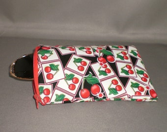 Eyeglass or Sunglasses Case - Padded Zippered Pouch - iPhone - Cell Phone - Cherry - Cherries - Red