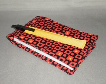Diary - Notepad Holder with Pen - Journal - Black and Red Checks - Gold Stars