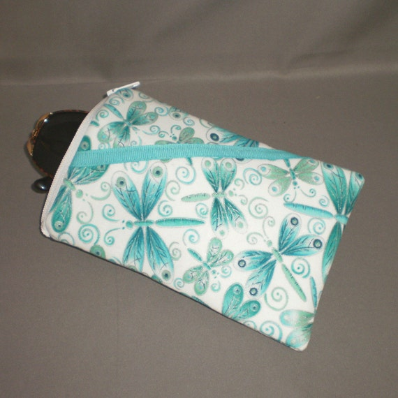 Eyeglass or Sunglasses Case - Cell Phone, Camera, iPod Bag - Padded Zipper Pouch - Dragonfly - Turquoise - Aqua - Silver