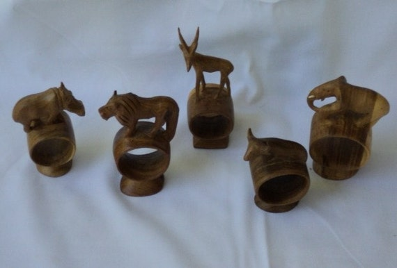 African animal carved wood napkin rings