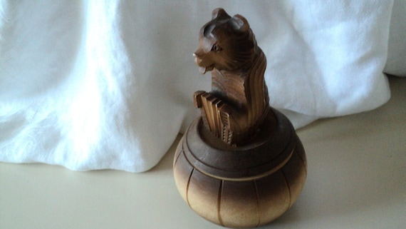Carved Wood Bear Playing Accordion Box Russia