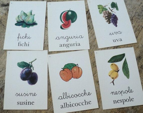 Vintage Italian Flash Cards of Fruit
