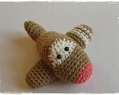Amigurumi Toy Airplane Baby Rattle organic cotton