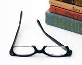 Retro Black Frame Eyeglasses Rectangular Steel Bottom Nerdy Glasses Geeky Spectacles