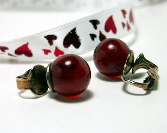Vintage Clip on Earrings Blood Moon Shaped