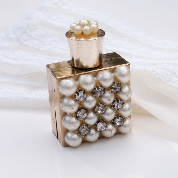 Vintage Perfume Bottle Pearls and Rhinestones