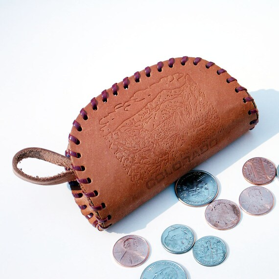 Leather Change Purse Vintage Souvenir  Colorado
