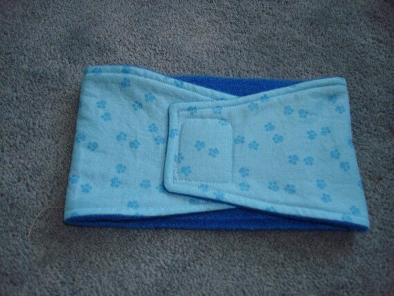 Soft Blue Dog Belly Band with Paw Prints - Available in all sizes
