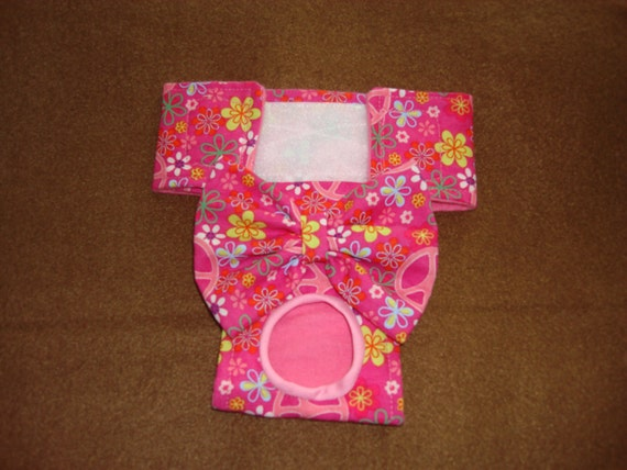 Peace Signs and Flowers - Female Dog Panties / Diaper - XXS - XS