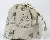 Drawstring Knitting Project Bag. MYSTIC OWL. Size LARGE... Special KnitterBag design.