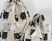 Set of 3 Lucky Sheep Knitter Project Bags. XL, Large and Mini.