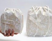 Drawstring bags. Set of 2 Knitter Project Bags. LARGE and Mini.